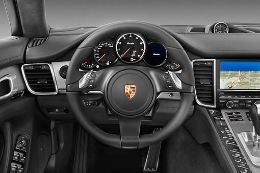 AUT 30 IZ1275 01 © Kimball Stock 2013 Porsche Panamera Turbo White Interior Detail In Studio