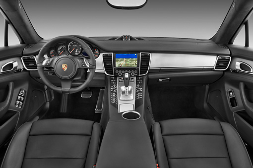 AUT 30 IZ1277 01 © Kimball Stock 2013 Porsche Panamera Turbo White Interior Detail In Studio
