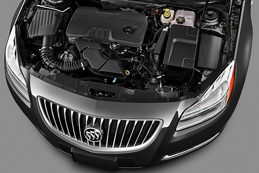 AUT 30 IZ1282 01 © Kimball Stock 2013 Buick Regal CXL Sedan Gray Engine Detail