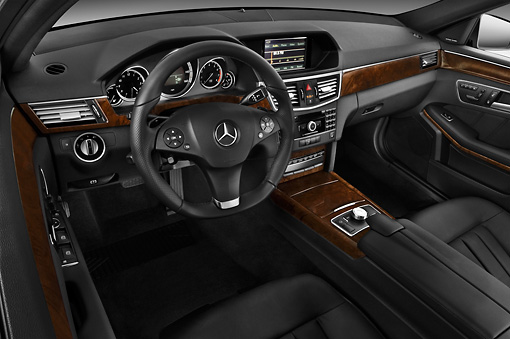 AUT 30 IZ1298 01 © Kimball Stock 2011 Mercedes-Benz E350 4Matic Wagon Blue Interior Detail In Studio