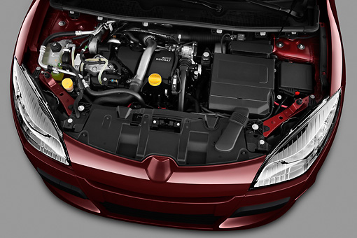 AUT 30 IZ1302 01 © Kimball Stock 2013 Renault Megane Coupe Convertible Red Engine Detail In Studio