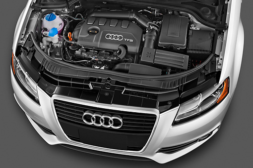 AUT 30 IZ1332 01 © Kimball Stock 2012 Audi A3 Premium Hatchback Silver Engine Detail In Studio
