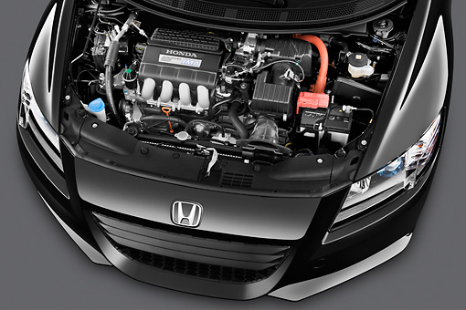 AUT 30 IZ1352 01 © Kimball Stock 2011 Honda CRZ EX Sport Hybrid Coupe Black Engine Detail In Studio