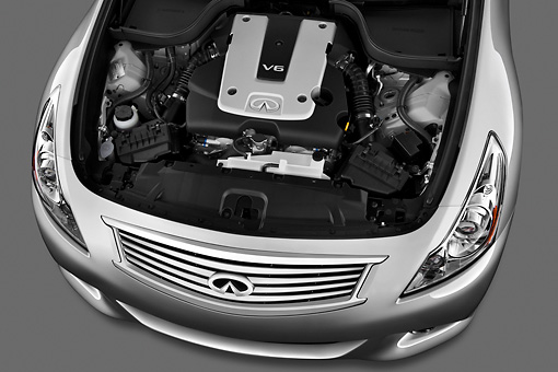 AUT 30 IZ1357 01 © Kimball Stock 2012 Infiniti G25 Journey Sedan Silver Engine Detail In Studio
