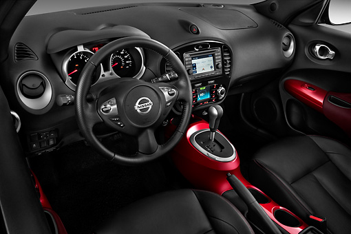 AUT 30 IZ1373 01 © Kimball Stock 2013 Nissan Juke SV SUV Gray Interior Detail In Studio