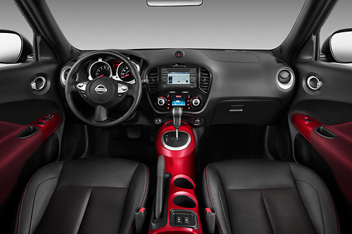 AUT 30 IZ1374 01 © Kimball Stock 2013 Nissan Juke SV SUV Gray Interior Detail In Studio