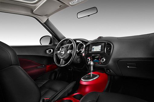 AUT 30 IZ1376 01 © Kimball Stock 2013 Nissan Juke SV SUV Gray Interior Detail In Studio