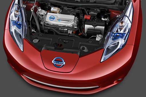 AUT 30 IZ1390 01 © Kimball Stock 2012 Nissan Leaf SL Red Engine Detail In Studio