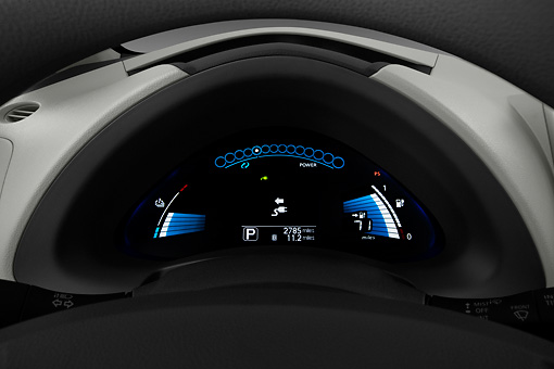 AUT 30 IZ1400 01 © Kimball Stock 2012 Nissan Leaf SL Red Dashboard Detail In Studio