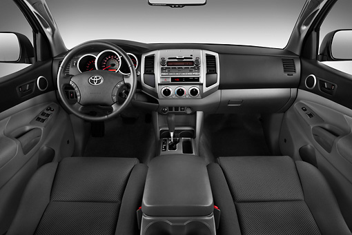 AUT 30 IZ1409 01 © Kimball Stock 2011 Toyota Tacoma PreRunner Off Road Double Cab Silver Interior Detail In Studio