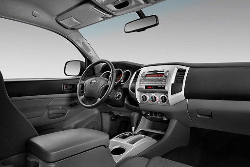 AUT 30 IZ1411 01 © Kimball Stock 2011 Toyota Tacoma PreRunner Off Road Double Cab Silver Interior Detail In Studio