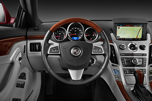 AUT 30 IZ1413 01 © Kimball Stock 2013 Cadillac CTS Coupe Premium Red Interior Detail In Studio