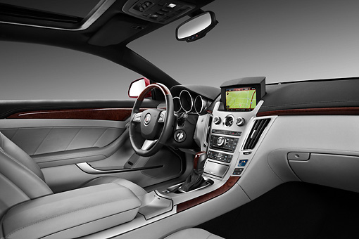 AUT 30 IZ1416 01 © Kimball Stock 2013 Cadillac CTS Coupe Premium Red Interior Detail In Studio
