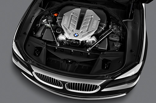 AUT 30 IZ1437 01 © Kimball Stock 2011 BMW 7 Series ActiveHybrid Black Engine Detail In Studio