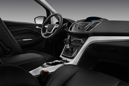 AUT 30 IZ1444 01 © Kimball Stock 2013 Ford Grand C-Max Titanium Mini MPV Black Interior Detail In Studio
