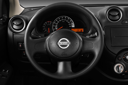AUT 30 IZ1456 01 © Kimball Stock 2013 Nissan Micra Visia 5 Door Micro Car Gray Interior Detail In Studio