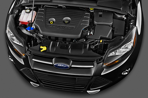 AUT 30 IZ1471 01 © Kimball Stock 2013 Ford Focus Hatchback Titanium Black Engine Detail Studio