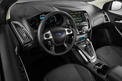 AUT 30 IZ1472 01 © Kimball Stock 2013 Ford Focus Hatchback Titanium Black Interior Detail Studio