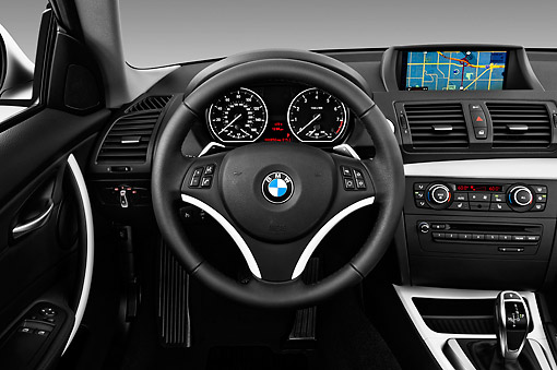 AUT 30 IZ1499 01 © Kimball Stock 2013 BMW 1 Series 135 Coupe White Interior Detail Studio