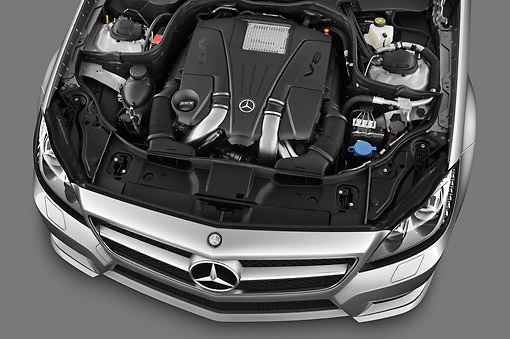 AUT 30 IZ1511 01 © Kimball Stock 2013 Mercedes-Benz CLS Class Silver Engine Detail Studio