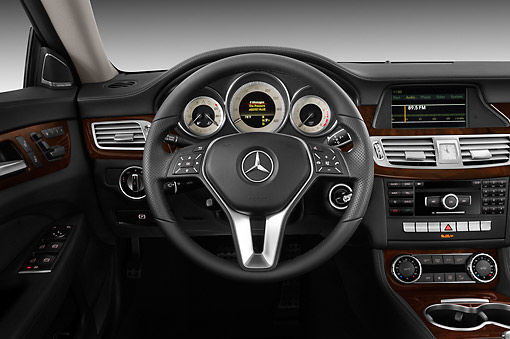 AUT 30 IZ1514 01 © Kimball Stock 2013 Mercedes-Benz CLS Class Silver Interior Detail Studio