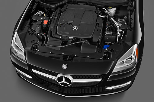 AUT 30 IZ1516 01 © Kimball Stock 2013 Mercedes-Benz SLK Class Black Engine Detail Studio