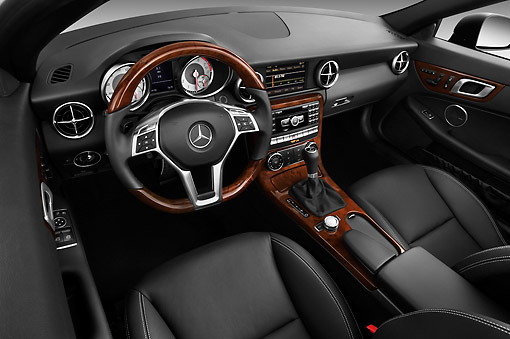 AUT 30 IZ1517 01 © Kimball Stock 2013 Mercedes-Benz SLK Class Black Interior Detail Studio