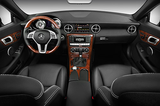AUT 30 IZ1518 01 © Kimball Stock 2013 Mercedes-Benz SLK Class Black Interior Detail Studio