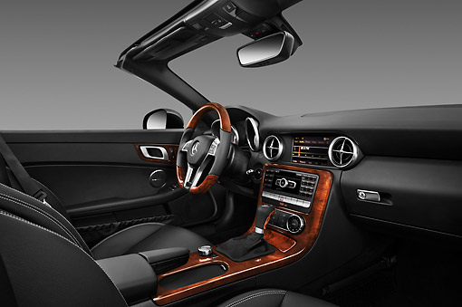 AUT 30 IZ1520 01 © Kimball Stock 2013 Mercedes-Benz SLK Class Black Interior Detail Studio