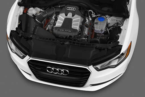 AUT 30 IZ1526 01 © Kimball Stock 2013 Audi A6 Premium Plus White Engine Detail In Studio