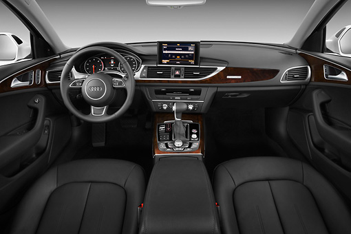 AUT 30 IZ1528 01 © Kimball Stock 2013 Audi A6 Premium Plus White Interior Detail In Studio