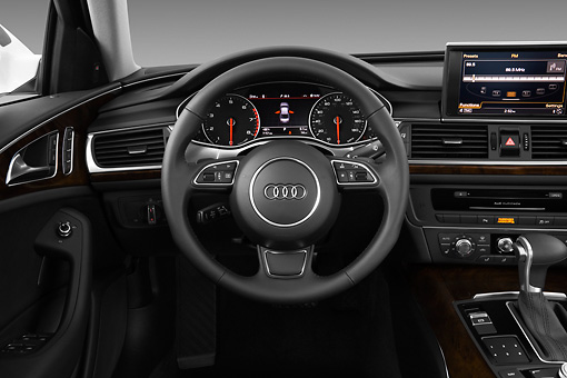 AUT 30 IZ1529 01 © Kimball Stock 2013 Audi A6 Premium Plus White Interior Detail In Studio
