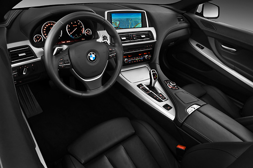 AUT 30 IZ1532 01 © Kimball Stock 2011 BMW 6 Series 640i Convertible White Interior Detail