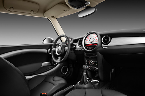 AUT 30 IZ1541 01 © Kimball Stock 2013 Mini Cooper Clubman S Black Interior Detail In Studio