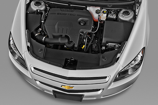 AUT 30 IZ1557 01 © Kimball Stock 2012 Chevrolet Malibu 1LS Silver Engine Detail In Studio
