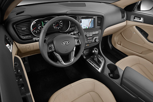 AUT 30 IZ1569 01 © Kimball Stock 2012 Kia Optima Hybrid Silver Interior Detail In Studio