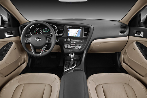 AUT 30 IZ1570 01 © Kimball Stock 2012 Kia Optima Hybrid Silver Interior Detail In Studio