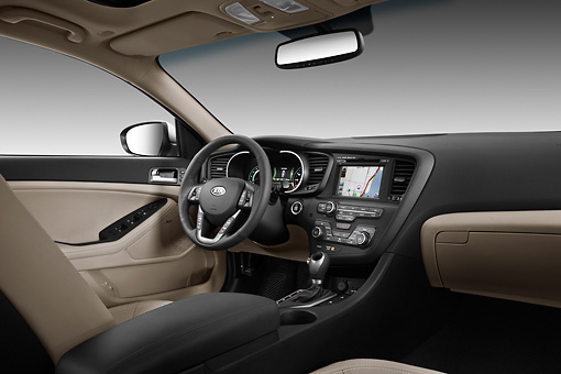 AUT 30 IZ1572 01 © Kimball Stock 2012 Kia Optima Hybrid Silver Interior Detail In Studio