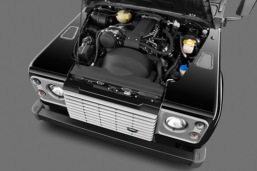 AUT 30 IZ1573 01 © Kimball Stock 2013 Land Rover Defender 110 SW SE SUV Black Engine Detail In Studio