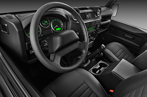 AUT 30 IZ1574 01 © Kimball Stock 2013 Land Rover Defender 110 SW SE SUV Black Interior Detail In Studio