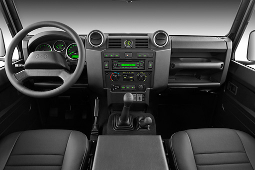 AUT 30 IZ1576 01 © Kimball Stock 2013 Land Rover Defender 110 SW SE SUV Black Interior Detail In Studio