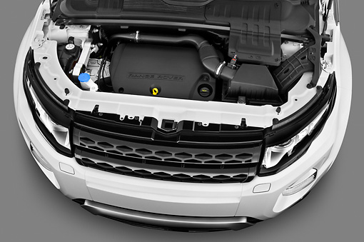 AUT 30 IZ1578 01 © Kimball Stock 2013 Land Rover Range Rover Evoque SUV White Engine Detail In Studio