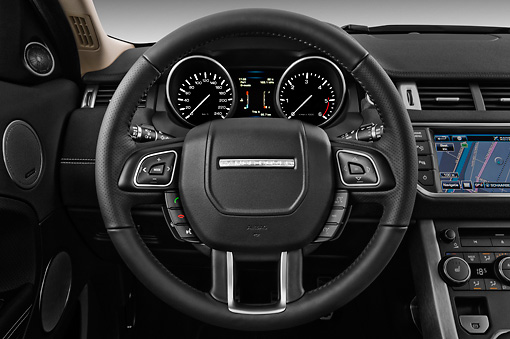 AUT 30 IZ1582 01 © Kimball Stock 2013 Land Rover Range Rover Evoque SUV White Interior Detail In Studio