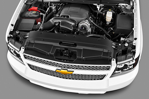 AUT 30 IZ1603 01 © Kimball Stock 2013 Chevrolet Suburban LTZ White Engine Detail In Studio