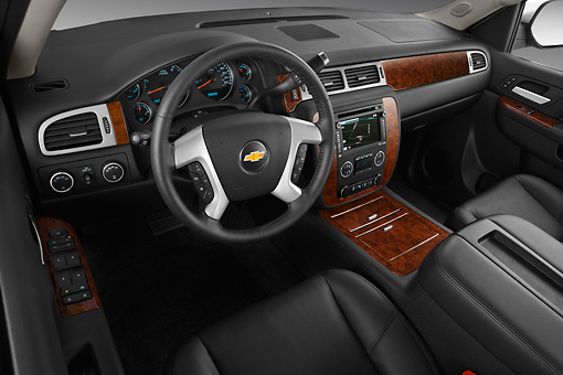 AUT 30 IZ1604 01 © Kimball Stock 2013 Chevrolet Suburban LTZ White Interior Detail In Studio