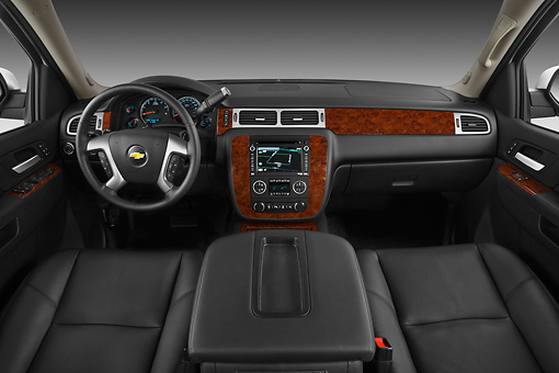 AUT 30 IZ1605 01 © Kimball Stock 2013 Chevrolet Suburban LTZ White Interior Detail In Studio
