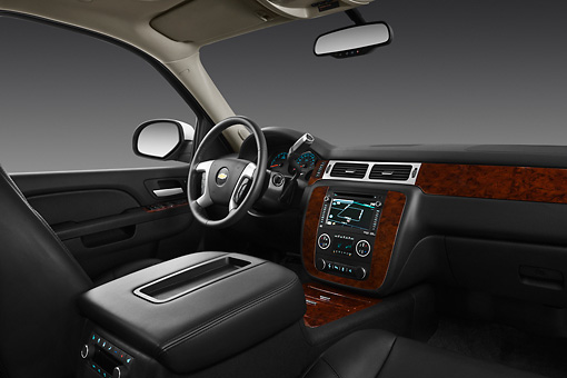 AUT 30 IZ1607 01 © Kimball Stock 2013 Chevrolet Suburban LTZ White Interior Detail In Studio
