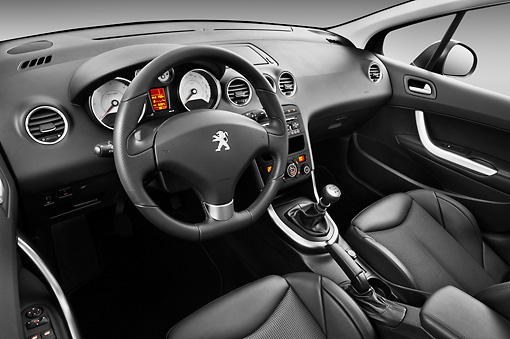 AUT 30 IZ1629 01 © Kimball Stock 2013 Peugeot 308 5 Door Hatchback Black Interior Detail In Studio