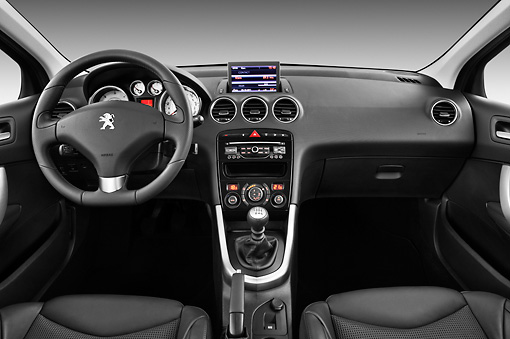 AUT 30 IZ1631 01 © Kimball Stock 2013 Peugeot 308 5 Door Hatchback Black Interior Detail In Studio