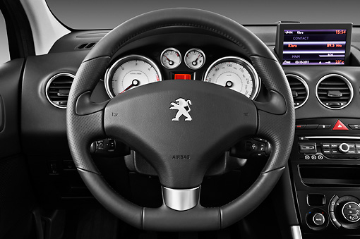 AUT 30 IZ1632 01 © Kimball Stock 2013 Peugeot 308 5 Door Hatchback Black Interior Detail In Studio
